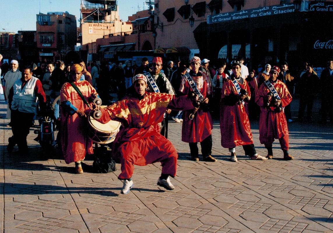 Performers in Marrakech's Jemaa el Fna plaza