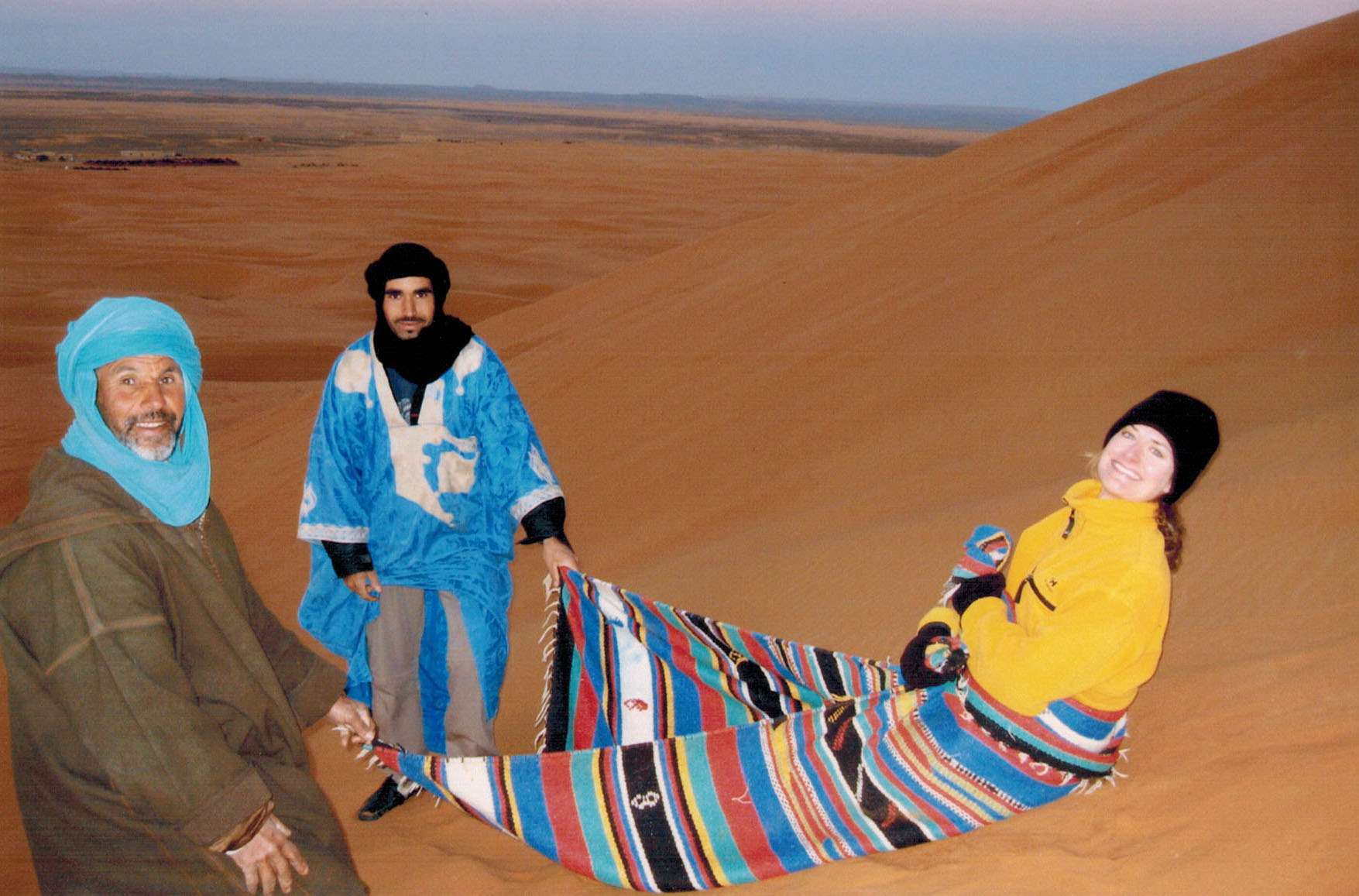 Christi with Berber guides ready for a magic carpet ride in the Morocco dunes