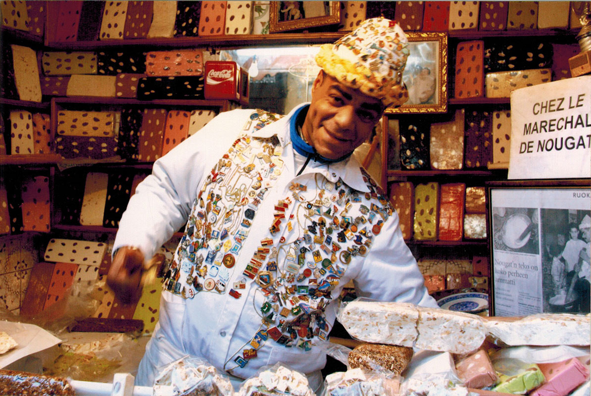 The nougat man at the souk in Fez, Morocco