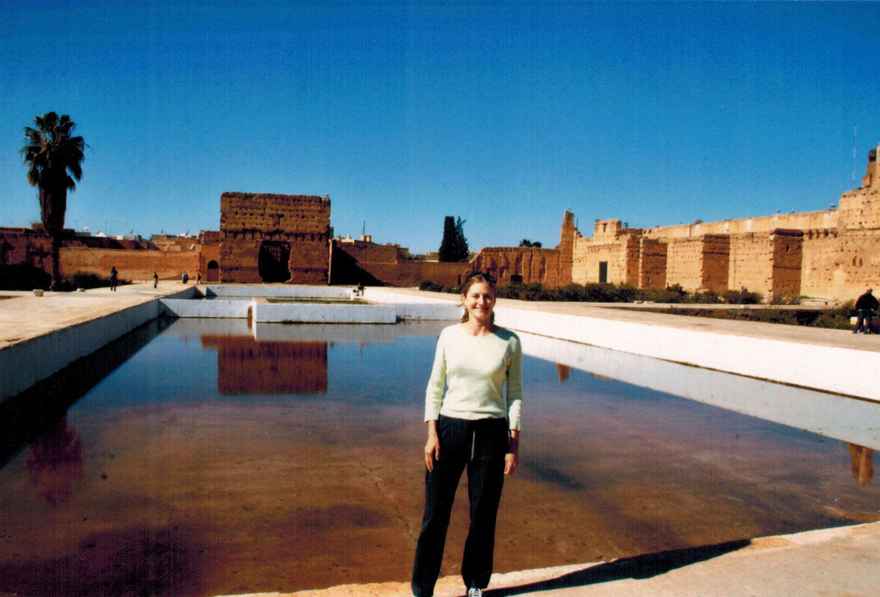Christi at the ruins of the El Badi Palace in Marrakech, Morocco