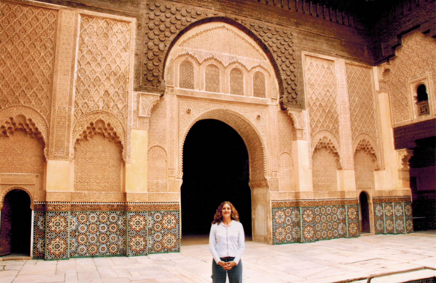 Christi at the Ben Youssef Madrassa in Marrakech, Morocco