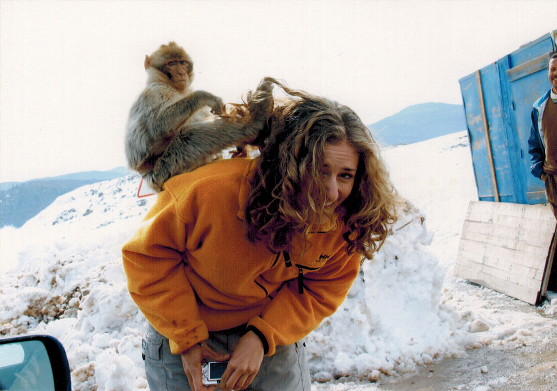 Christi monkeying around with a Barbary ape in Morocco