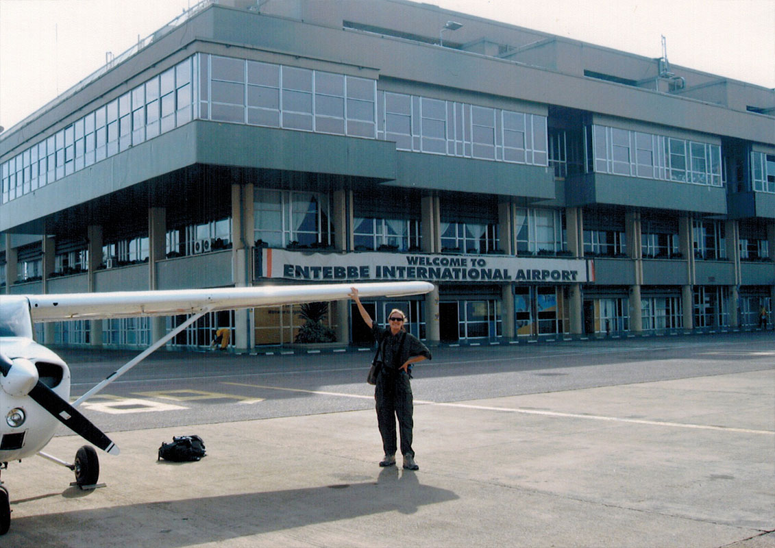 Christi at Entebbe Airport in Uganda