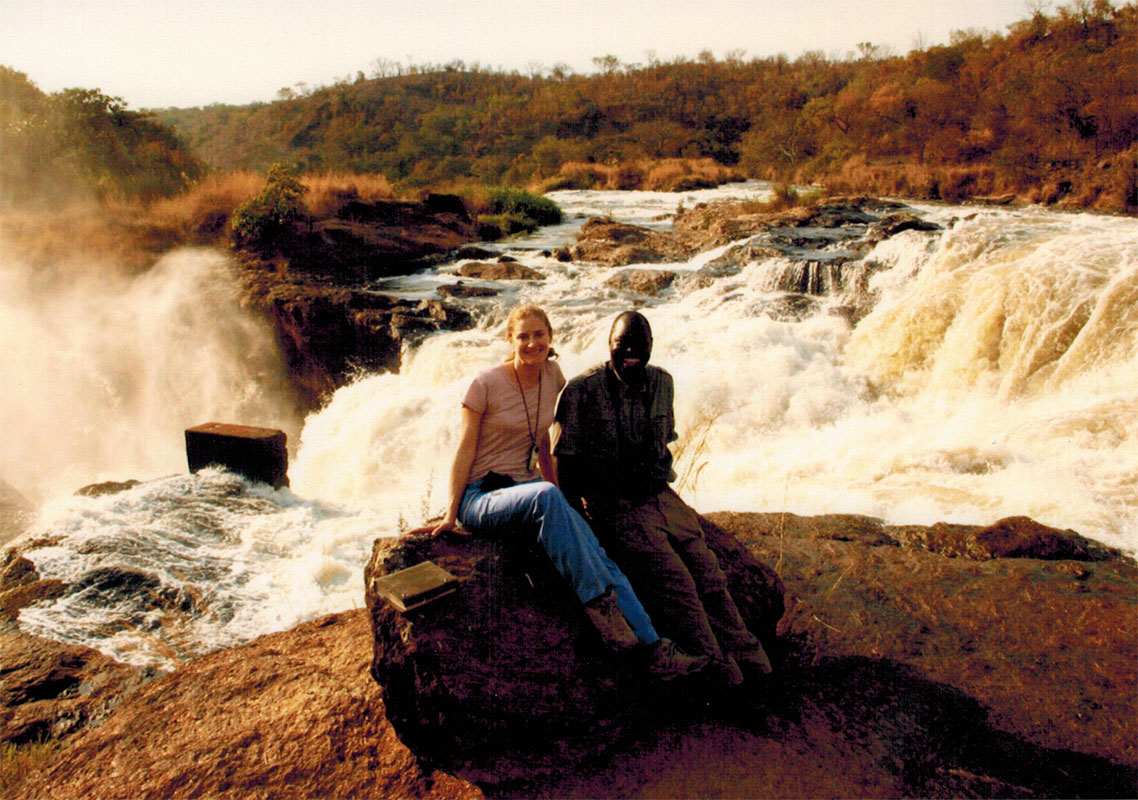 Christi and guide Ben at Murchison Falls in Uganda