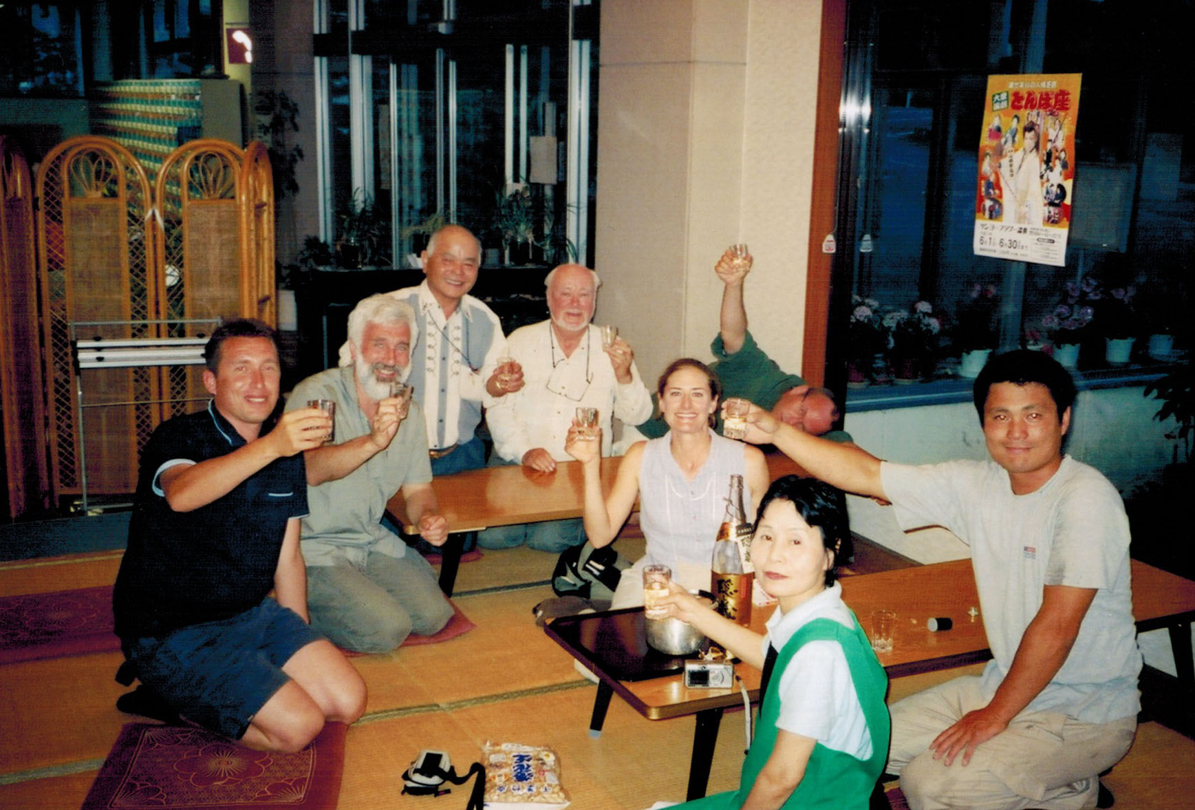 Birders toasting the hotel rescuers in Kyushu
