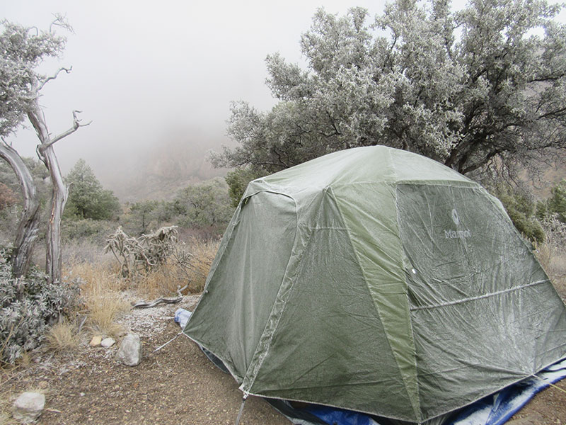 Frost on the tent at Chisos Basin Campground in Big Bend