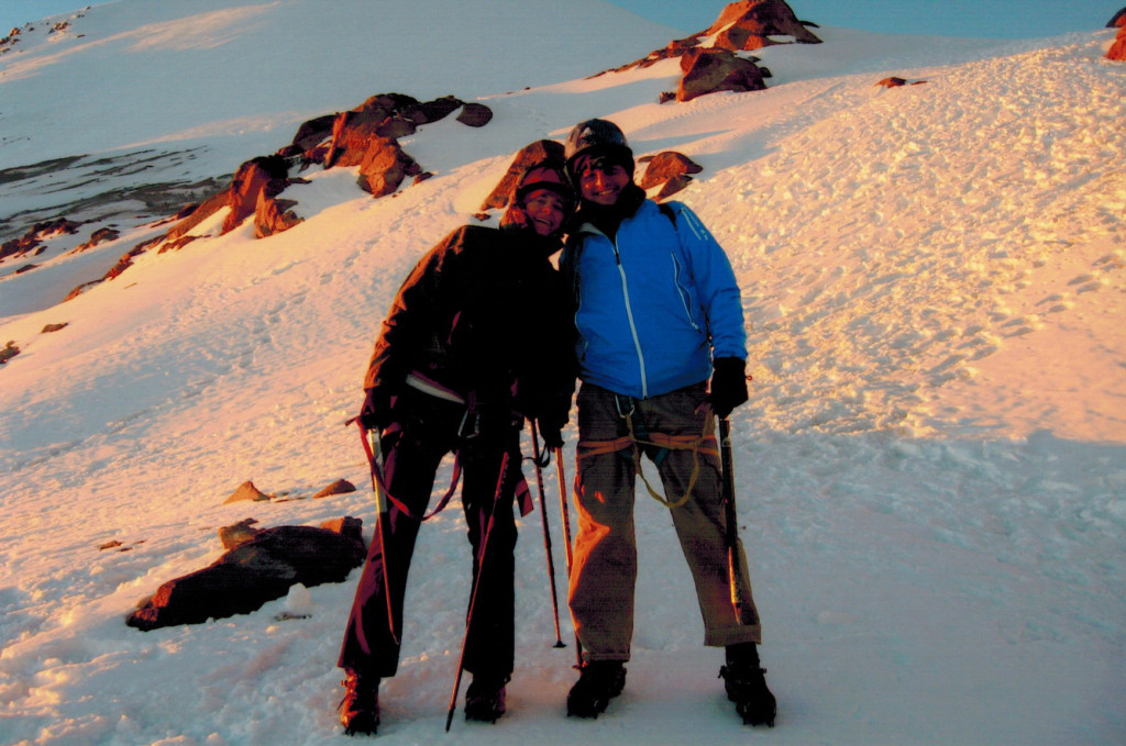Christi and Hector on Pico de Orizaba's glacier