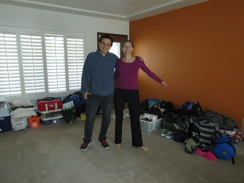 Hector and Christi at home before packing the car
