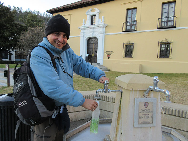 Hector filling water at Hot Springs National Park