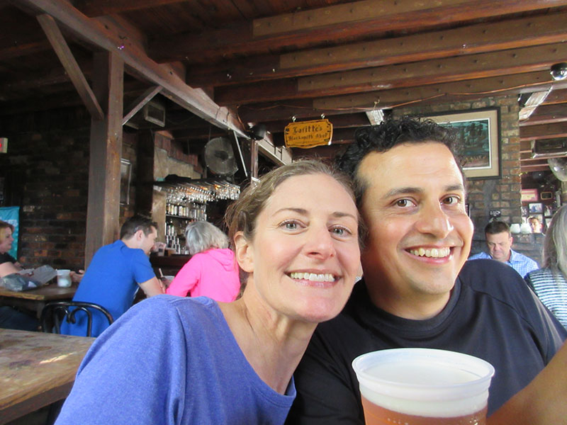 Christi & Hector having drinks at Jean Lafitte's Blacksmith Shop