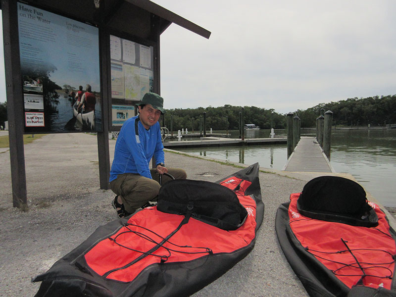 Hector inflating kayaks at in Everglades NP Flamingo Marina