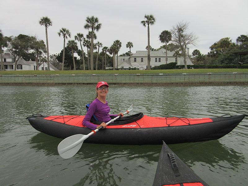 Christi kayaking near Kingsley Plantation