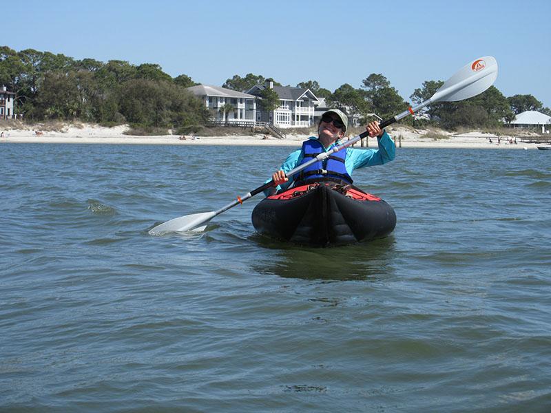 Christi kayaking off of Tybee Island GA