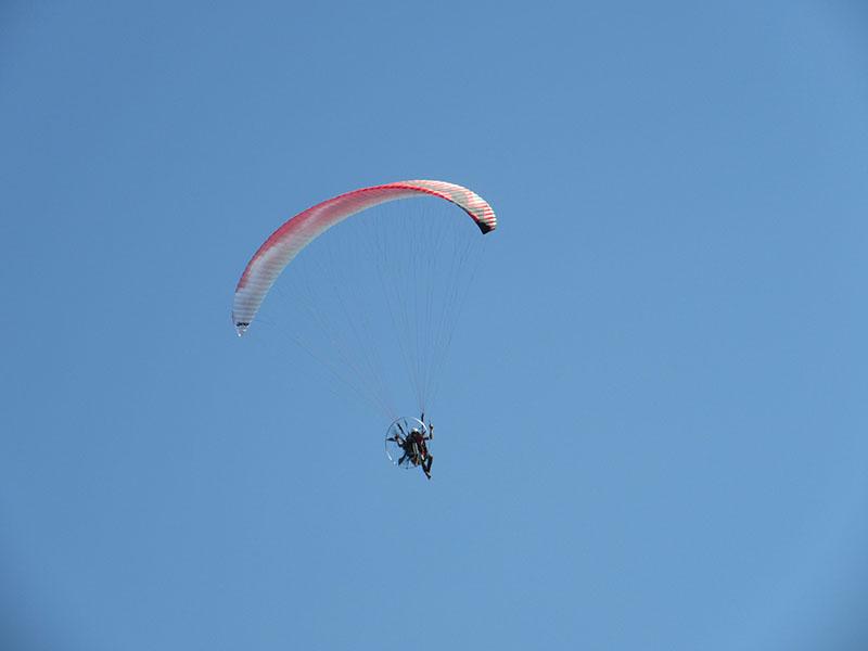 Gas-powered paraglider on Tybee Island GA