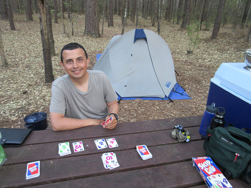 Hector at camp in Congaree National Park