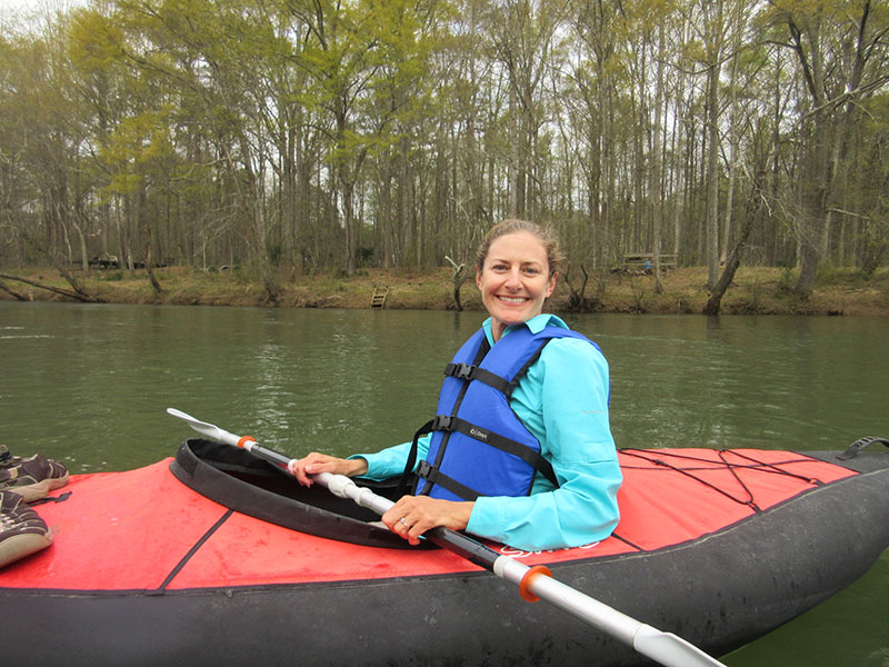 Christi kayaking the Chattahoochee River