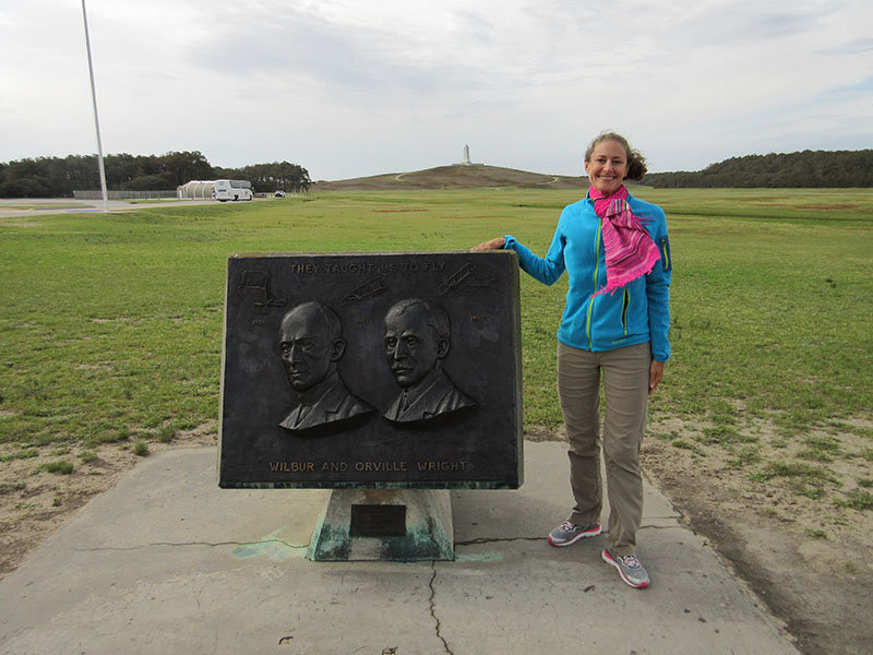 Christi at Wright Brothers Memorial in Kitty Hawk