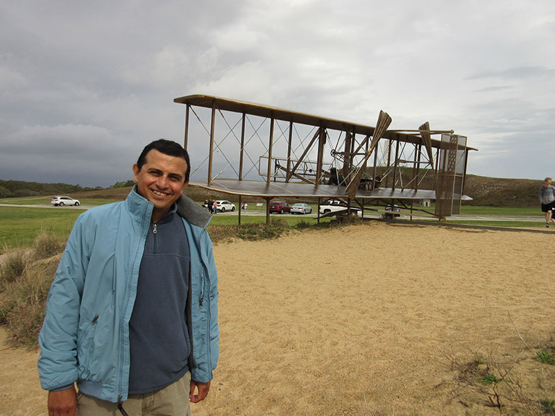 Hector at Wright Brothers Memorial in Kitty Hawk
