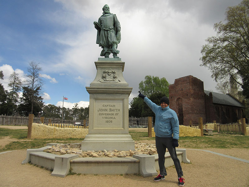 Hector at Captain John Smith statue at Historic Jamestowne