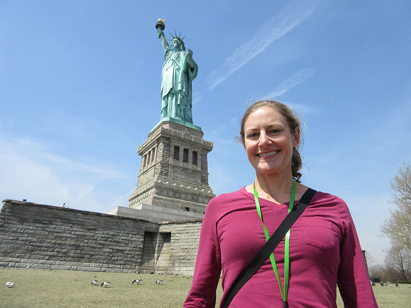 Christi at the Statue of Liberty