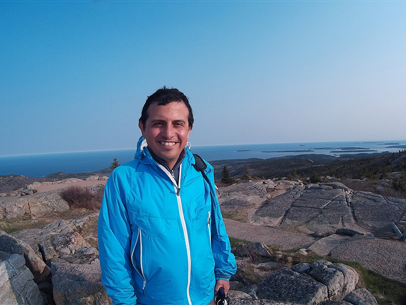 Hector on Cadillac Mountain in Acadia National Park