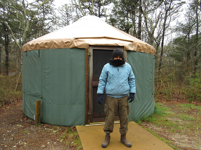 Hector by the yurt at Nickerson State Park
