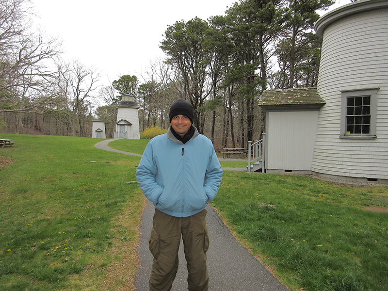 Hector at the Three Sisters Lighthouses in Cape Cod