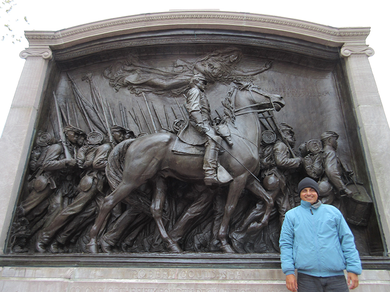 Hector at the Robert Gould Shaw Memorial in Boston