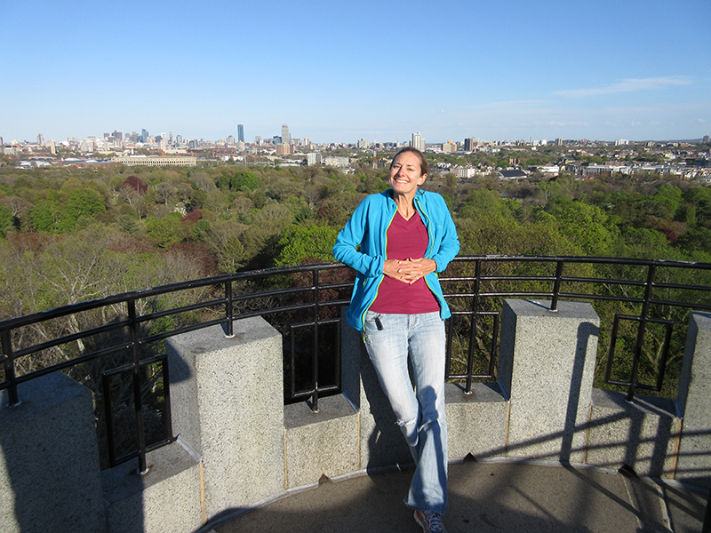 Christi at the top of Washington Tower in Cambridge's Mt. Auburn Cemetery
