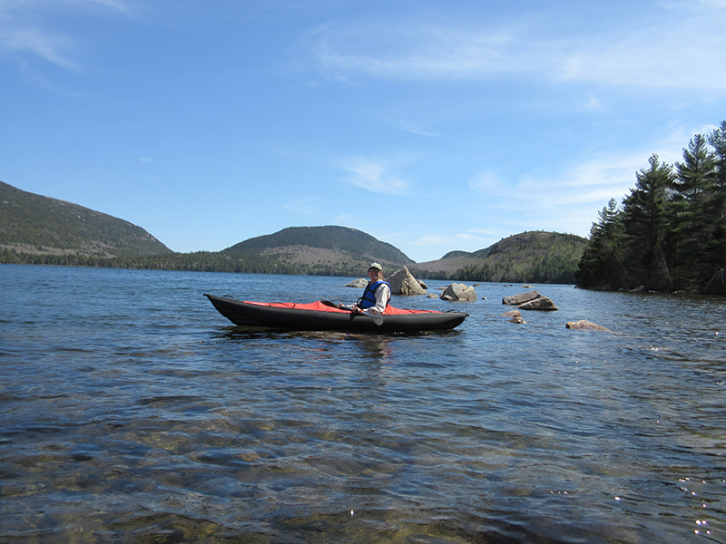 Christi kayaking Eagle Lake in Acadia National Park