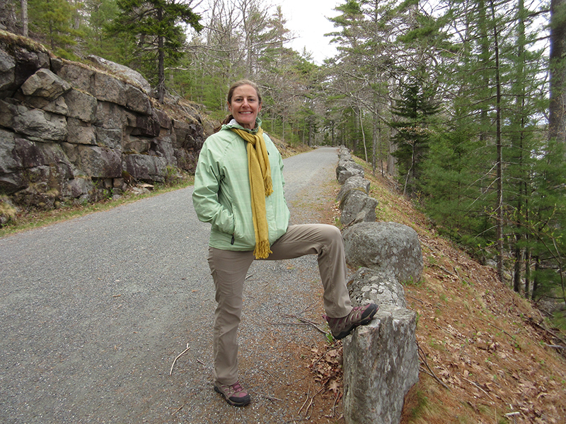 Christi on a carriage road in Acadia National Park