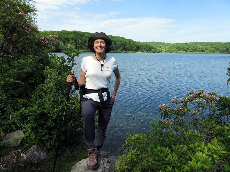 Christi at Sunfish Pond on the Appalachian Trail