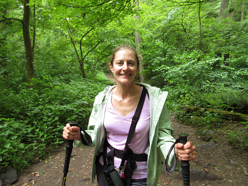 Christi hiking in Delaware Water Gap