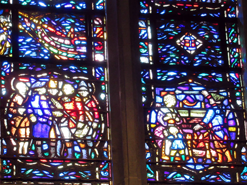 Stained glass windows in Valley Forge's Washington Memoral Chapel