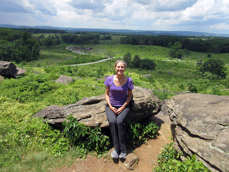 Christi at Little Round Top in Gettysburg