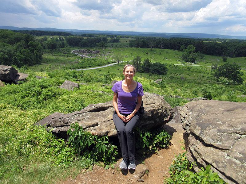 Christi at Little Round Top in Gettysburg