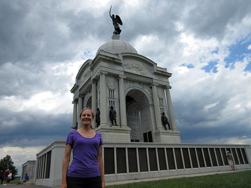 Christi at the Pennsylvania Memorial in Gettysburg