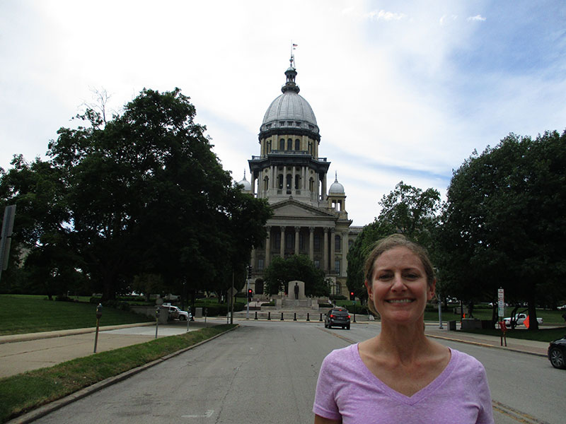 Christi at Illinois state capitol building in Springfield