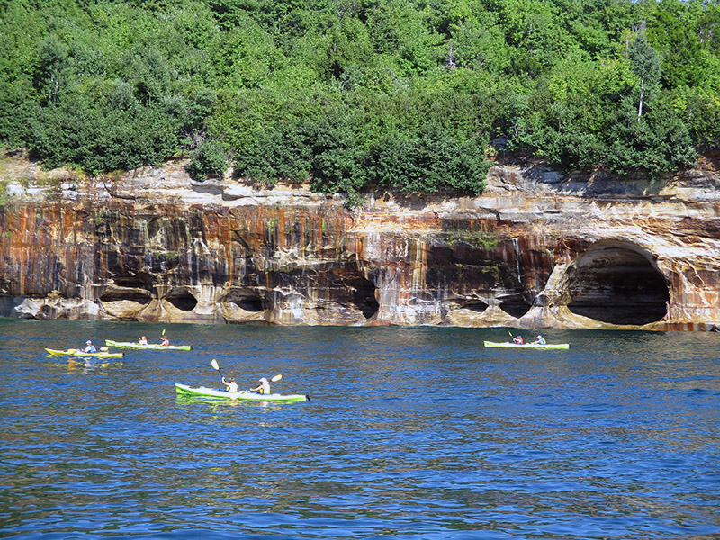 Kayakers at Pictured Rocks National Lakeshore