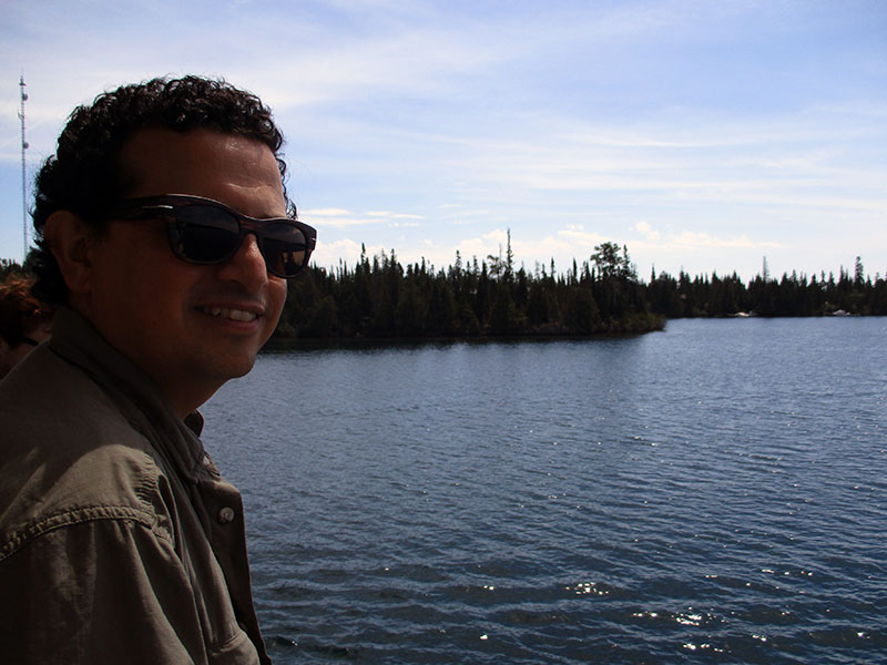 Hector aboard the Ranger III en route to Isle Royale National Park