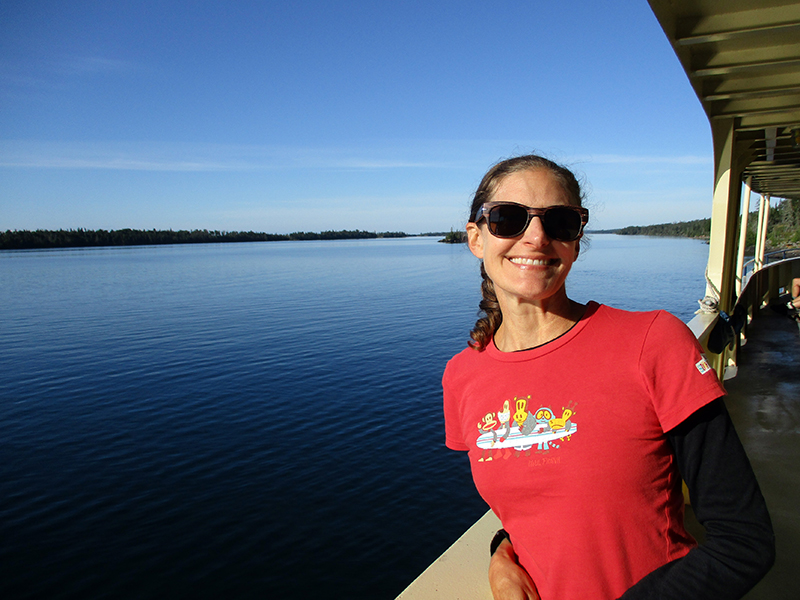 Christi aboard the Ranger III en route from Isle Royale National Park