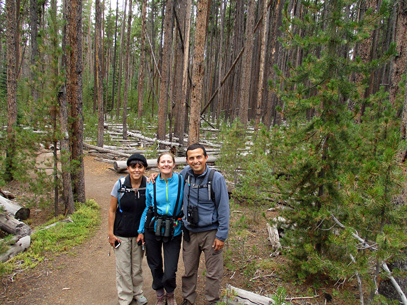 Ida, Christi & Hector hiking the Storm Point Trail in Yellowstone National Park