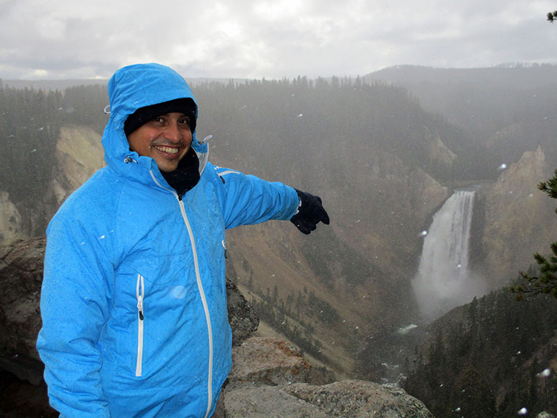 Hector at Yellowstone's Lower Falls of the Grand Canyon