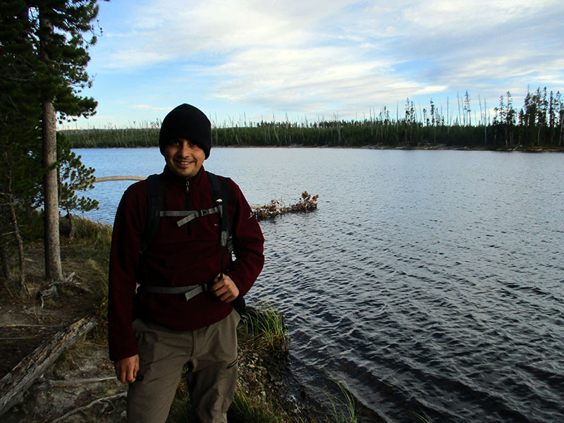 Hector at Ice Lake in Yellowstone National Park