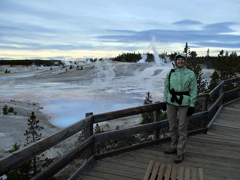 Christi in Yellowstone's Norris Geyser Basin