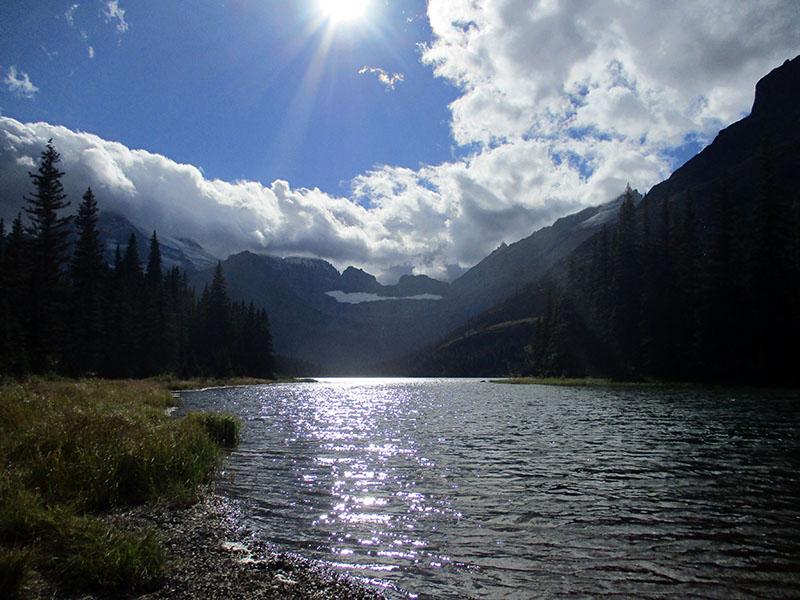 Glacier and lake in Glacier National Park