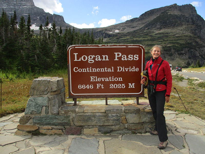 Christi at Logan Pass in Glacier National Park