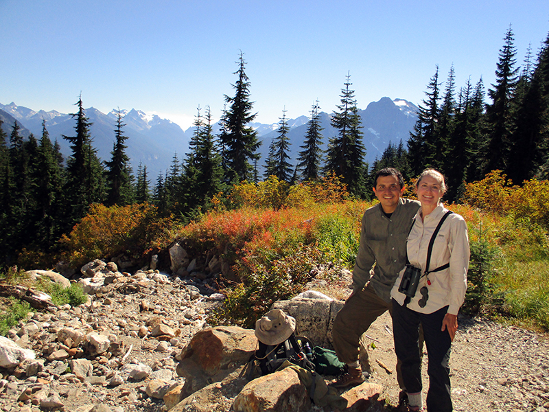 Hector & Christi on Sourdough Mountain Trail in North Cascades National Park