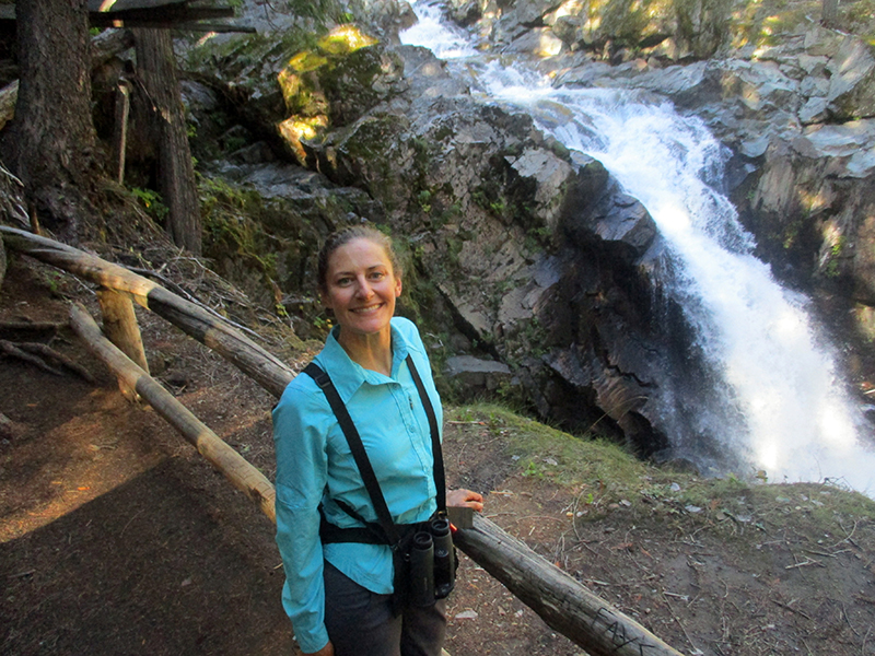 Christi at Silver Falls in Mount Rainier National Park
