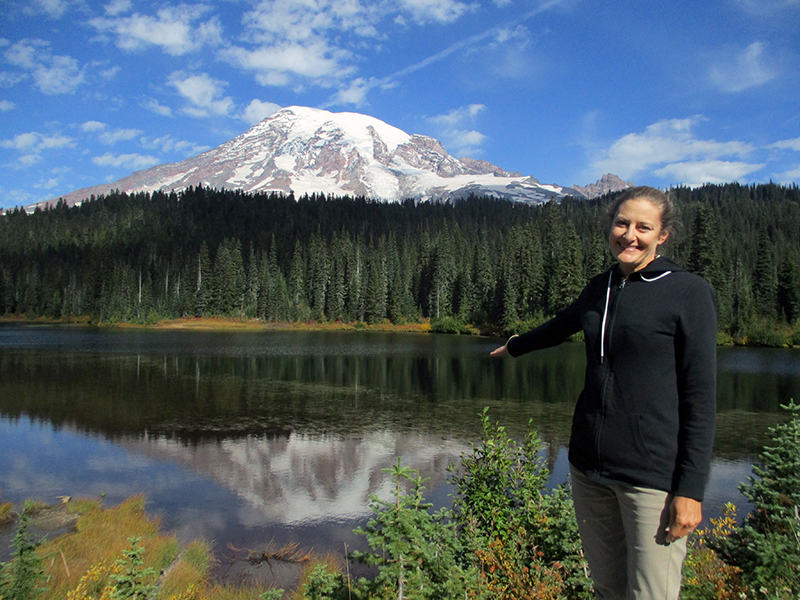 Christi at Reflection Lake in Mount Rainier National Park